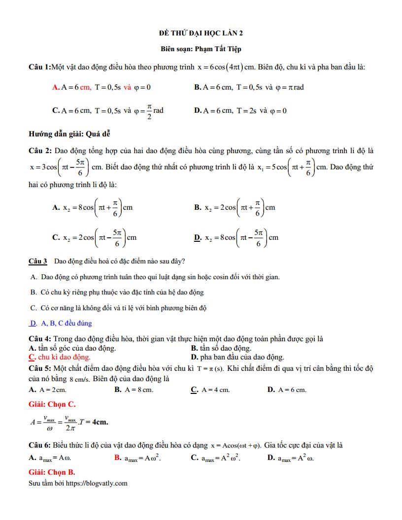 Đề thi thử môn Lý THPT Quốc Gia - Blog Vật Lý