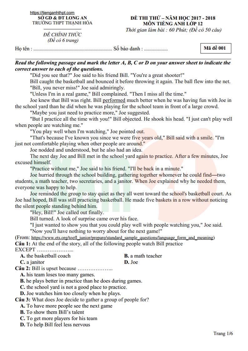 Đề thi thử tiếng Anh trường THPT Thạnh Hóa - Long An lần 1 - 2018