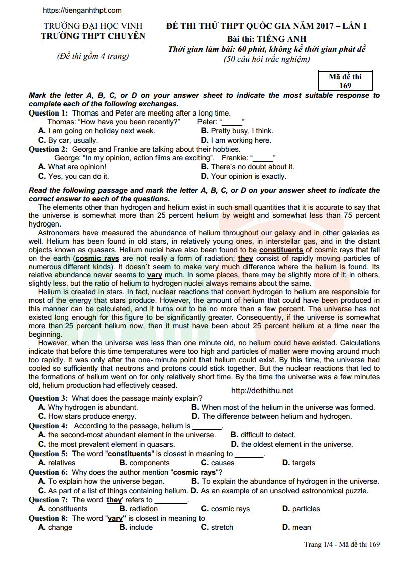 Tổng hợp đề thi thử tiếng Anh chuyên Vinh 2017 - 4 lần