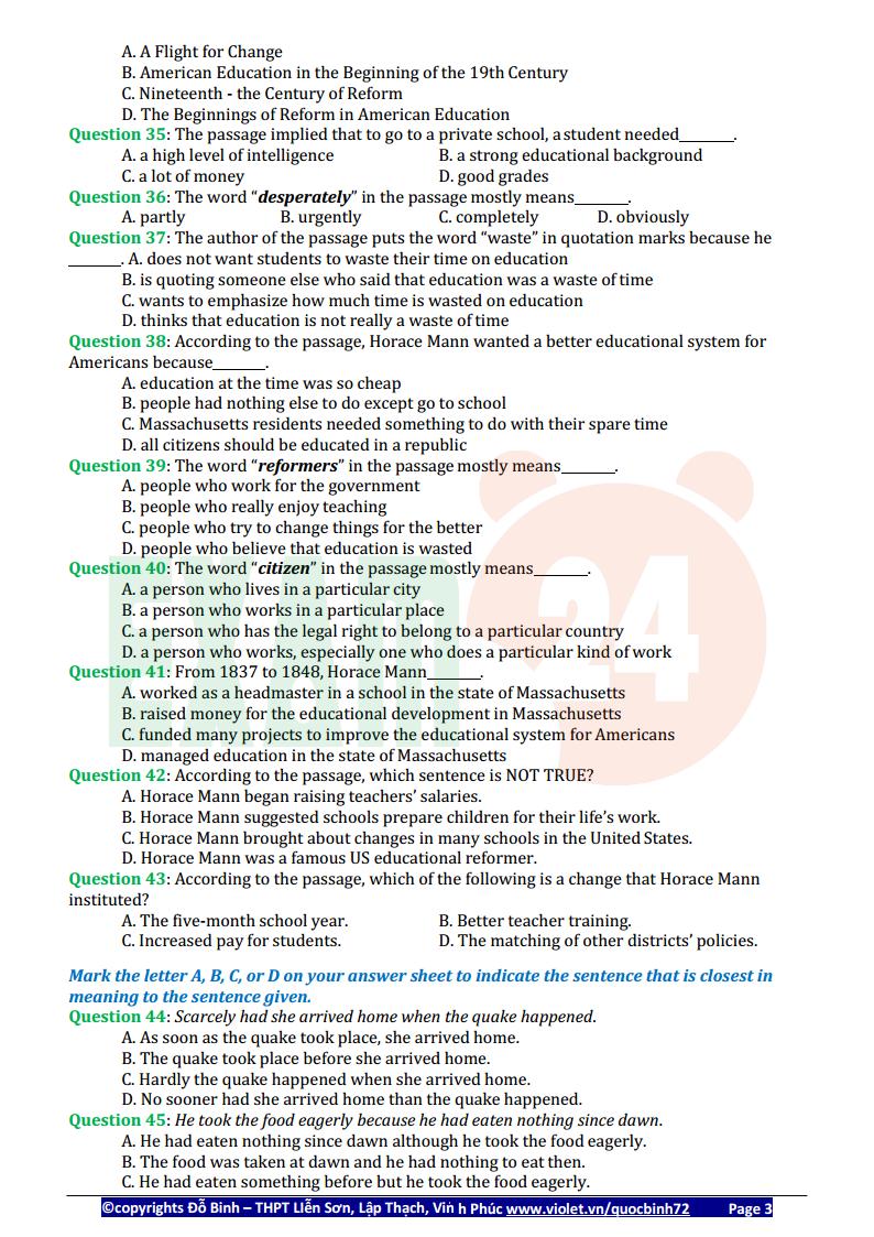 44 đề thi thử tiếng Anh thầy Đỗ Bình lần 3 - 2018 - Có đáp án