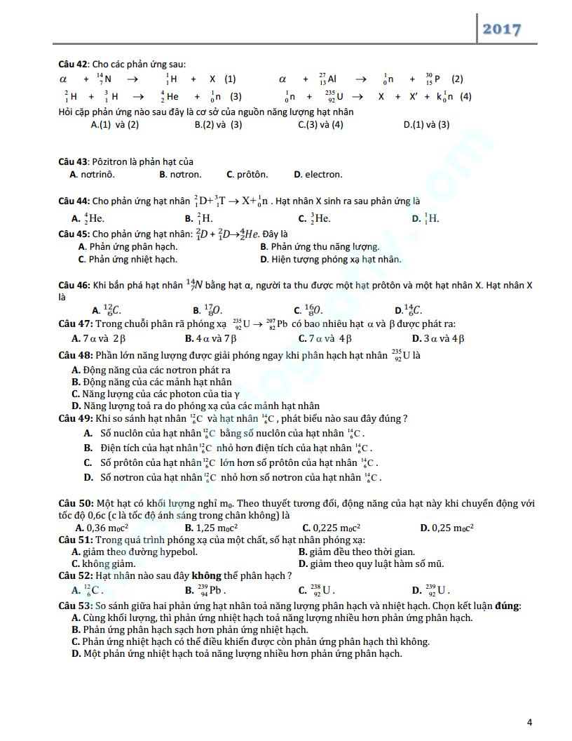 Câu hỏi trắc nghiệm ôn tập chuyên đề Vật lý hạt nhân lớp 12