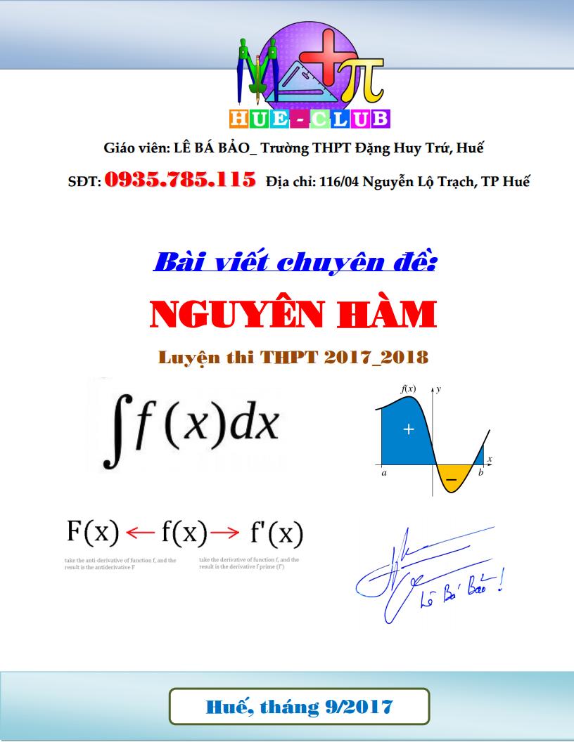 Chuyên đề Nguyên Hàm luyện thi THPT năm 2018 - Lê Bá Bảo