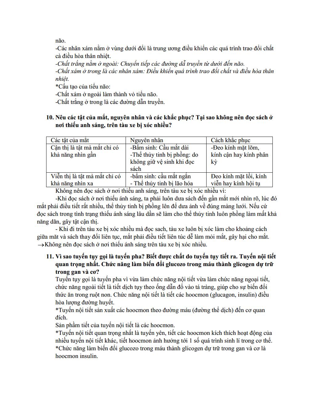 Đề cương ôn tập môn Sinh Học lớp 8 - CÓ LỜI GIẢI CHI TIẾT