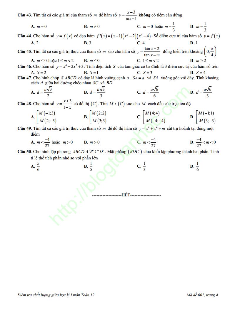 Đề thi KSCL giữa kỳ I trường THPT C Bình Lục - Hà Nam - Có đáp án