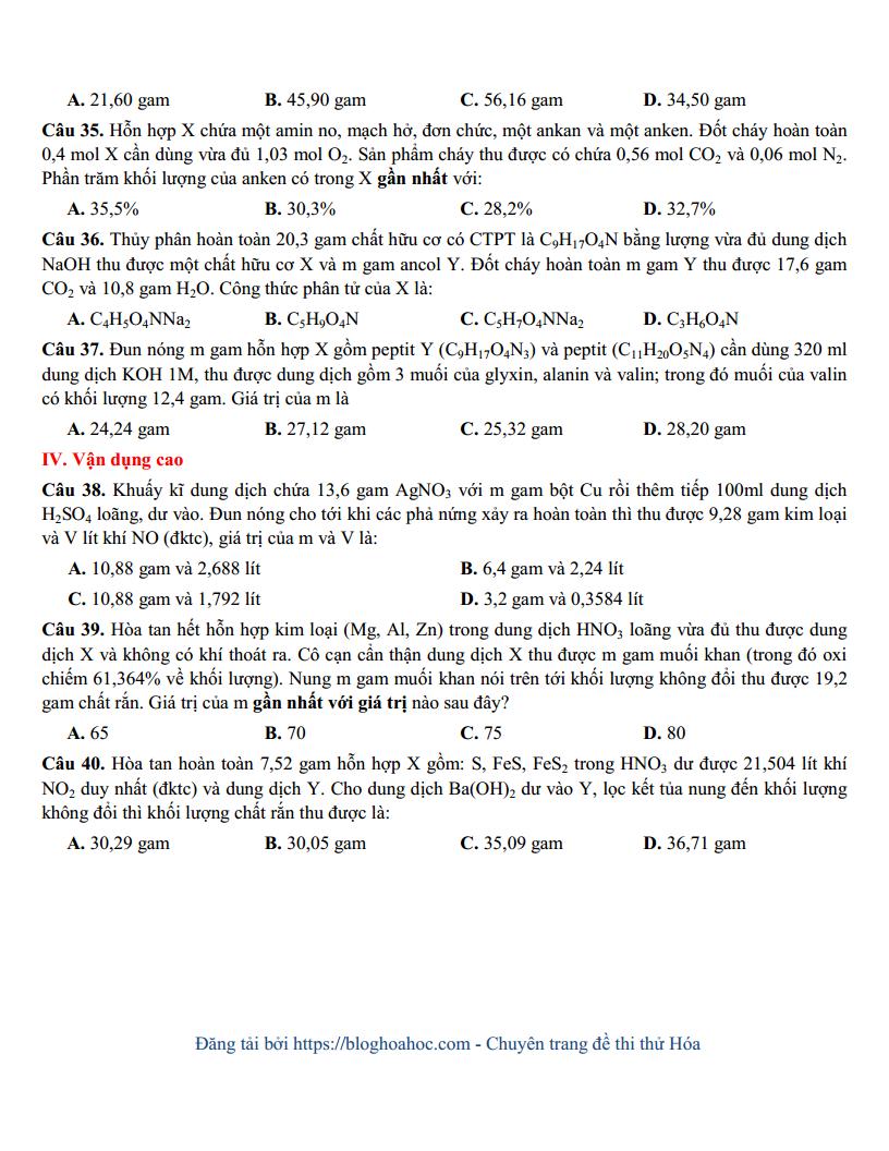 Đề thi thử môn Hóa trường THPT Chuyên Bắc Ninh lần 1 - 2018 có đáp án và lời giải chi tiết