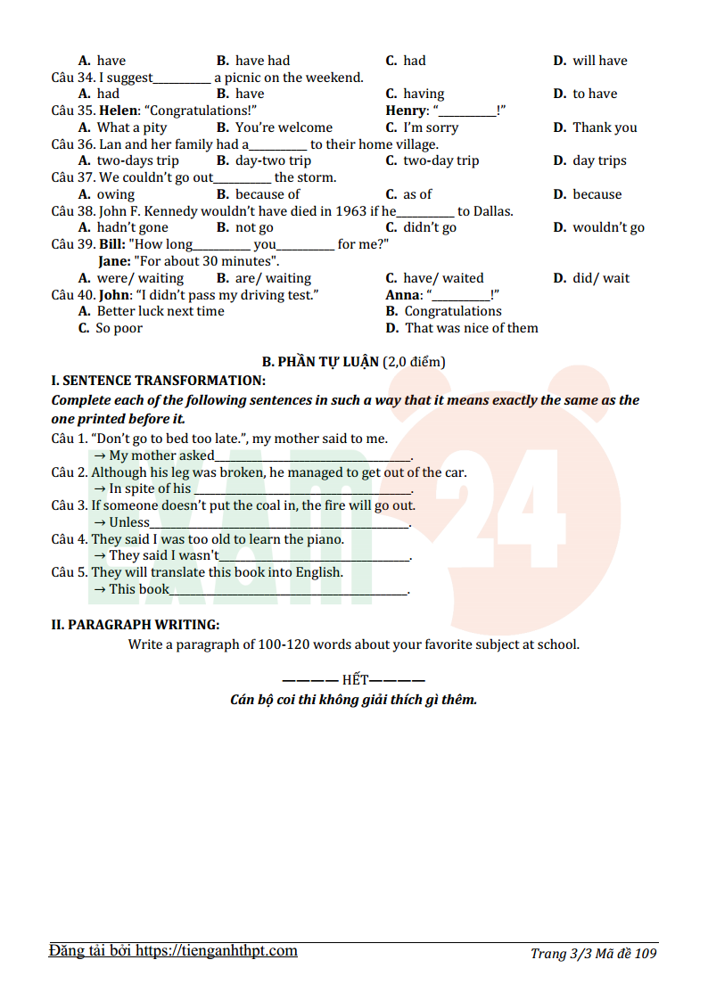 Đề thi tuyển sinh lớp 10 môn Anh THPT tỉnh Vĩnh Phúc năm 2016 - 2017 có đáp án