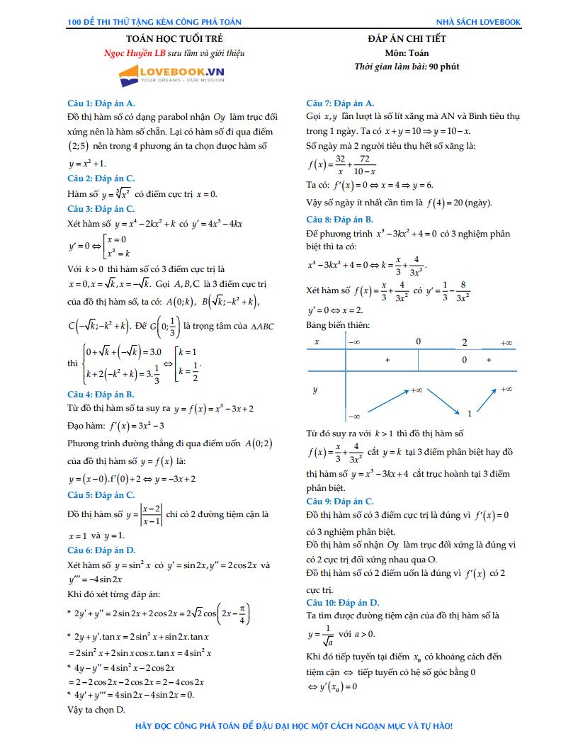 GIẢI CHI TIẾT đề thi thử tạp chí Toán Học Tuổi Trẻ - Đề số 2