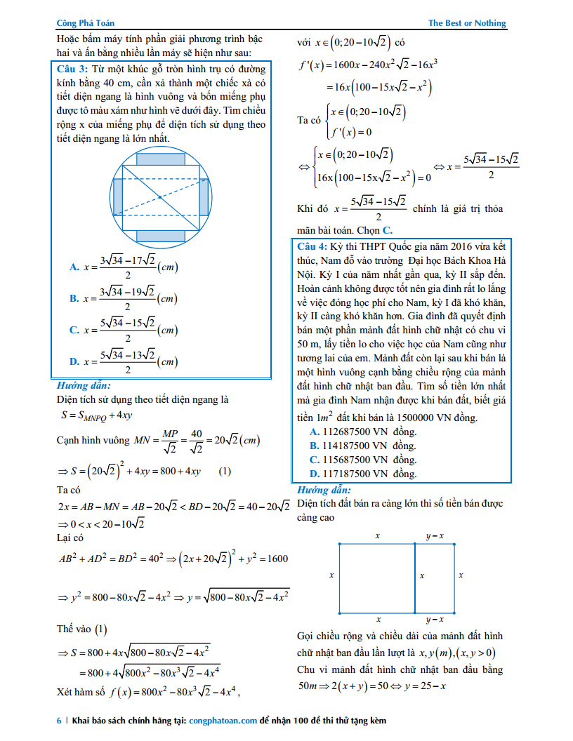 Toán thực tế lớp 12 - Bài tập có lời giải chi tiết
