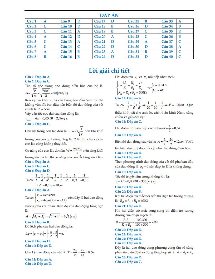 Giải chi tiết đề thi thử môn Lý trường THPT chuyên Vinh