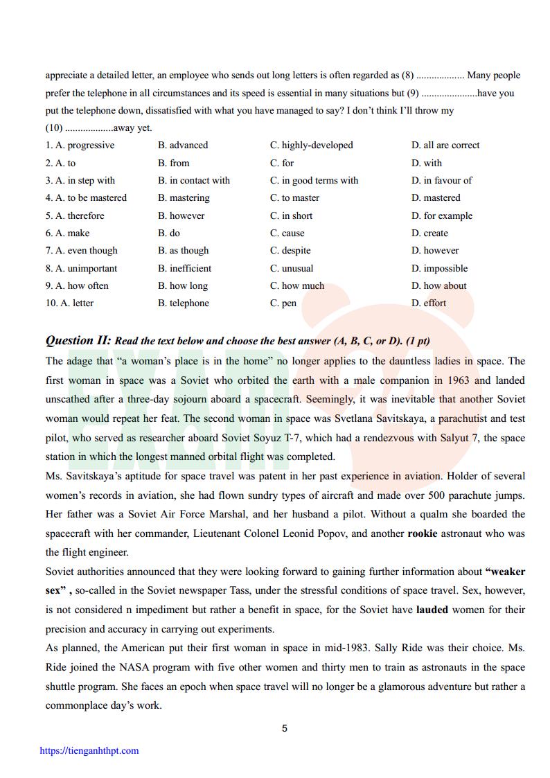 Đề thi HSG tiếng Anh 12 trường THPT Lý Thái Tổ - Bắc Ninh 2017 có đáp án