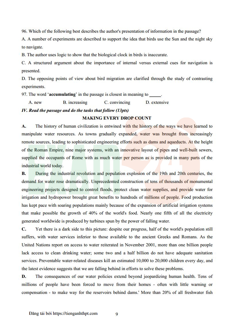 Đề thi HSG tiếng Anh khối chuyên lớp 12 Bắc Ninh năm 2016 - Có đáp án