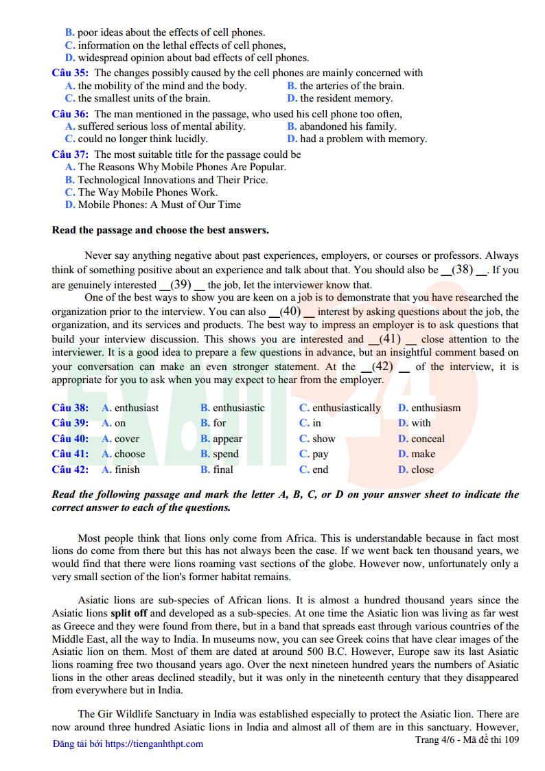 Đề thi thử tiếng Anh trường THPT Đồng Đậu - Vĩnh Phúc lần 1 - 2018