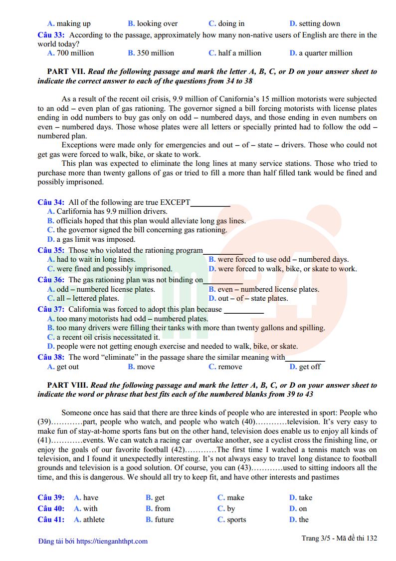 Đề thi thử tiếng Anh trường THPT Xuân Hòa - Vĩnh Phúc lần 1 - 2018