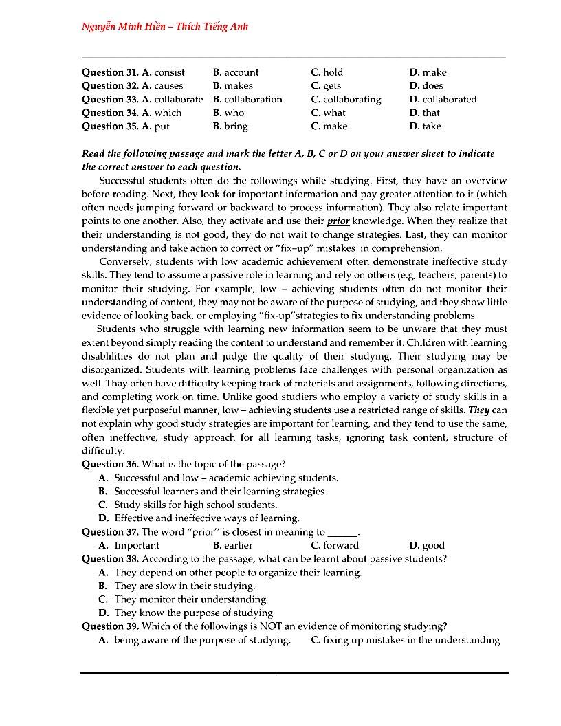 Đề thi thử tiếng Anh trường THPT chuyên Bắc Ninh lần 1 - 2018