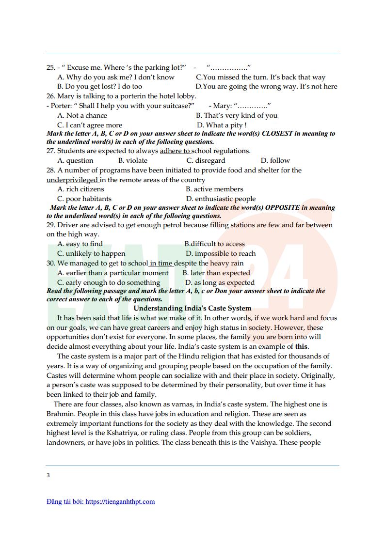 Đề thi thử tiếng Anh trường THPT chuyên Thái Bình lần 1 - 2018 Có đáp án
