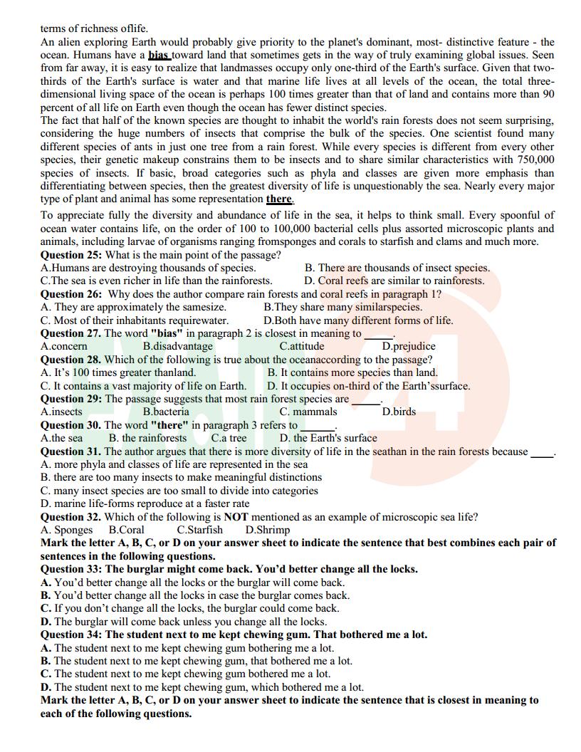 Đề thi thử tiếng Anh trường THPT Quỳ Hợp 1 - Nghệ An lần 2 - 2018 Có đáp án