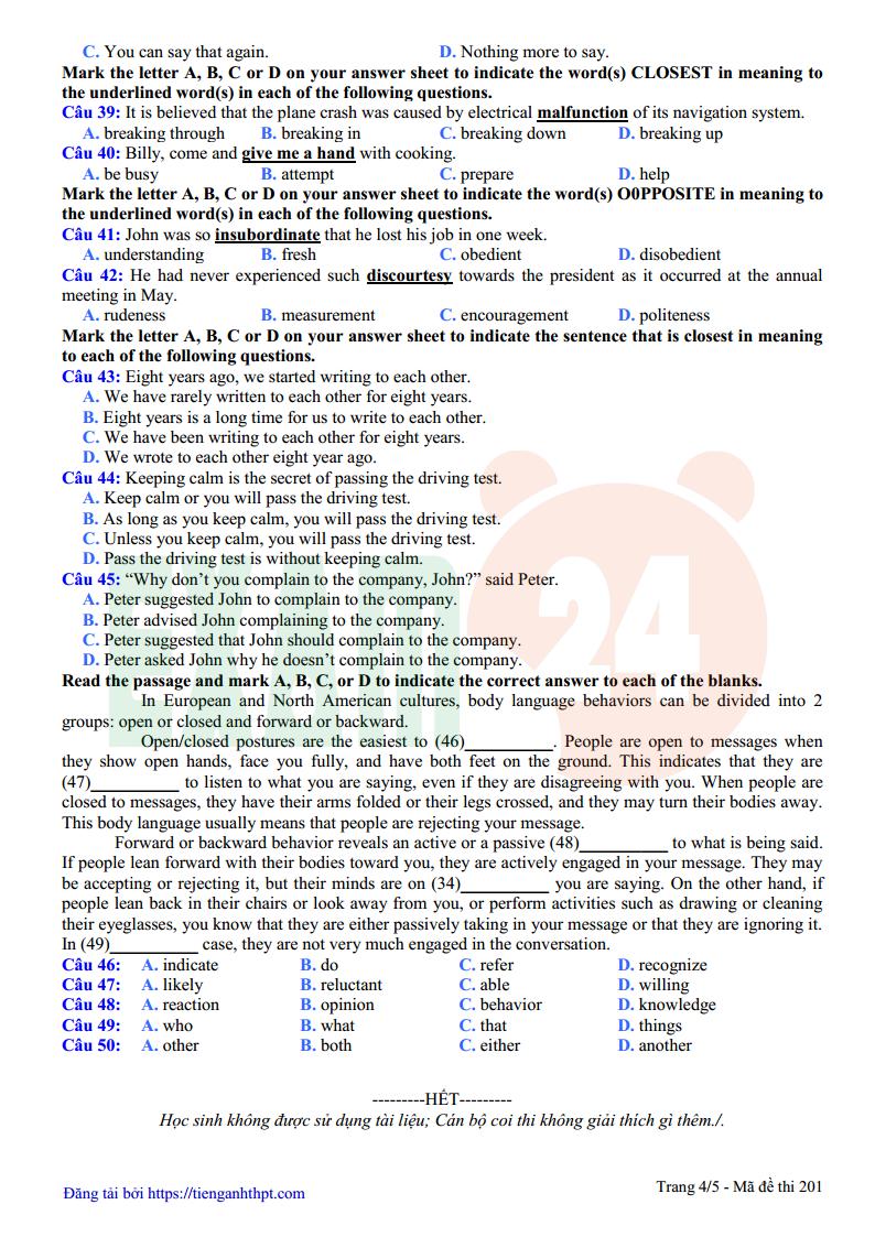 Đề thi thử tiếng Anh trường THPT Yên Lạc - Vĩnh Phúc lần 1 - 2018