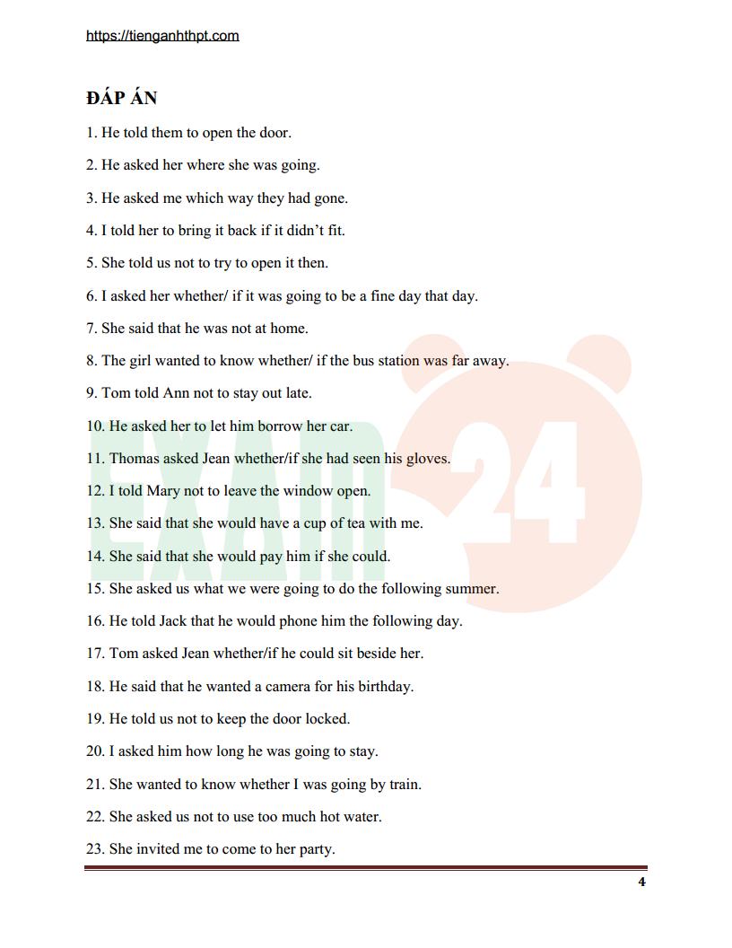 Lý thuyết và bài tập câu tường thuật trong Tiếng Anh