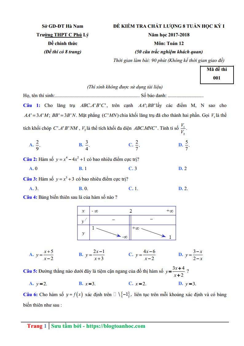 GIẢI CHI TIẾT Đề thi thử Toán trường THPT C Phủ Lý - Hà Nam Lần 1
