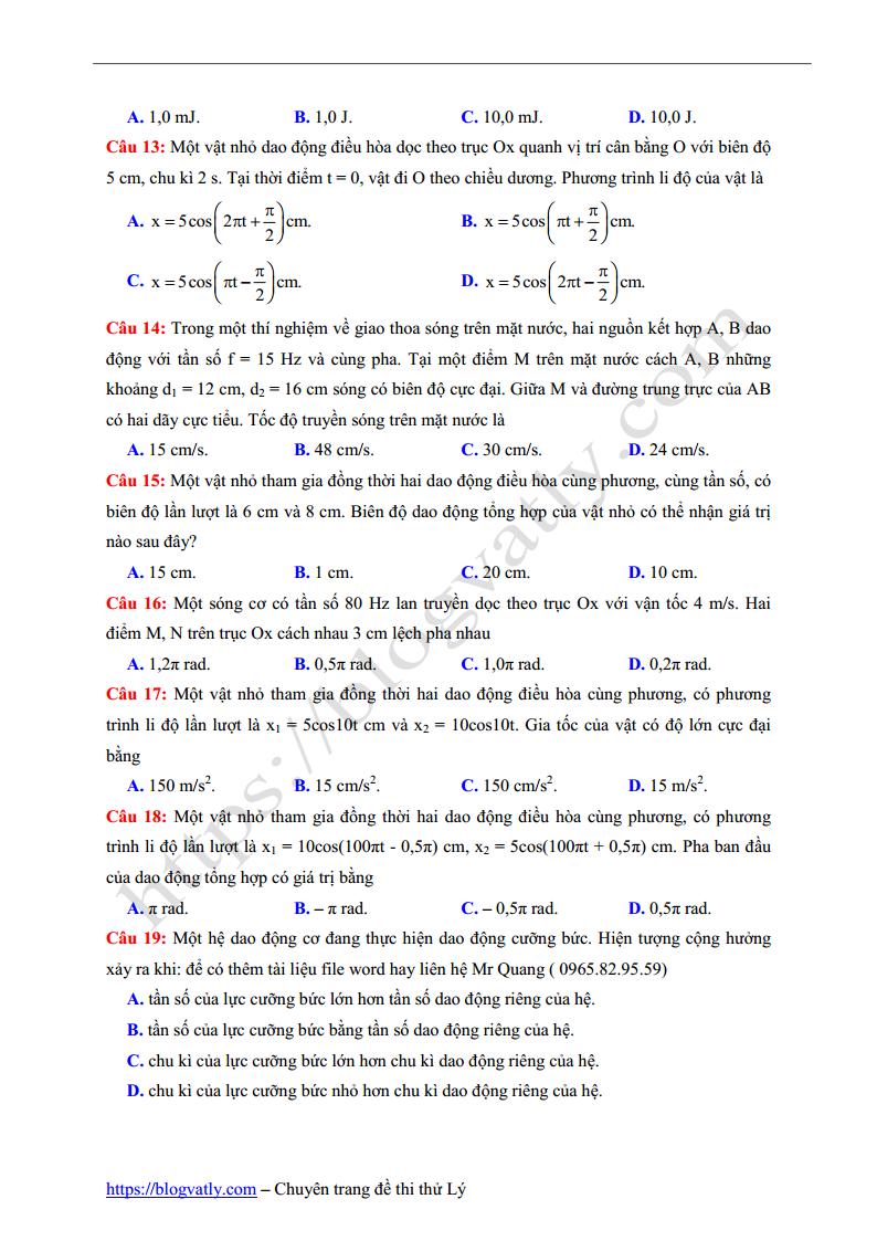 đề thi HK I môn Lý trường THPT Tam Hiệp - Đồng Nai lần 1 - 2018
