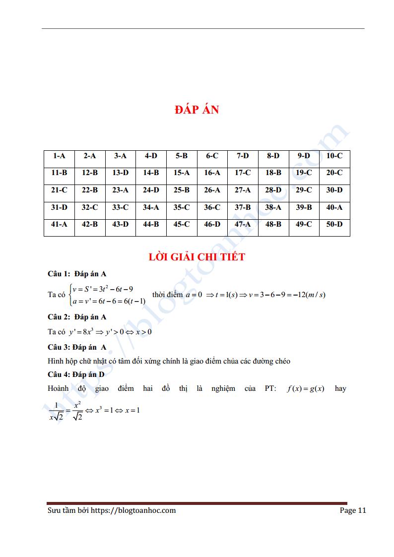 đề thi thửmôn Toán trường THPT chuyên Bắc Ninh Lần 1 -2018