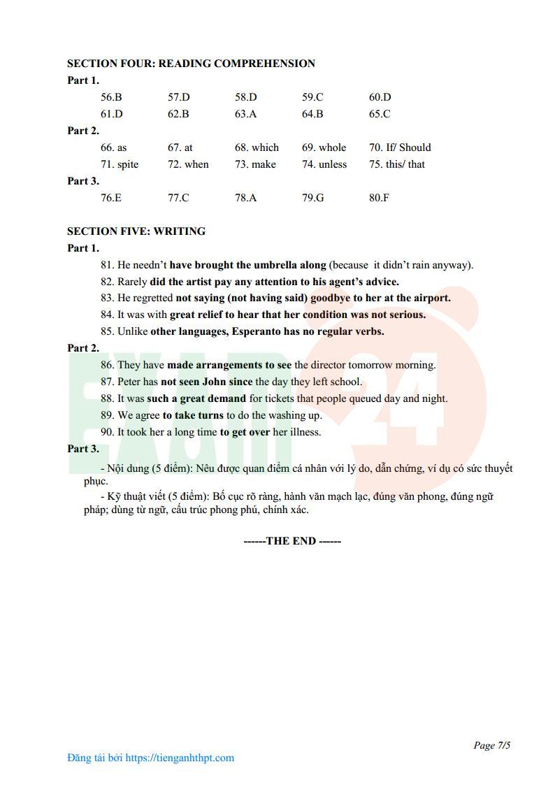 Đề thi HSG tiếng Anh lớp 12 tỉnh Quảng Bình năm 2017 - Có đáp án
