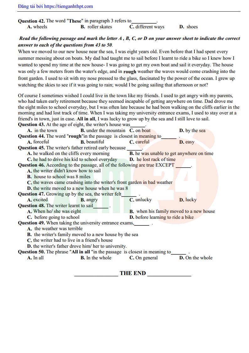 Đề thi thử tiếng Anh trường THPT Đội Cấn - Vĩnh Phúc lần 2 - 2018