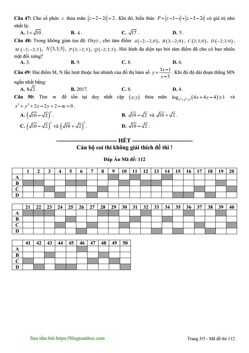 Đề thi thử môn Toán tháng 11 – TTLT Diệu Hiền – Cần Thơ năm 2018