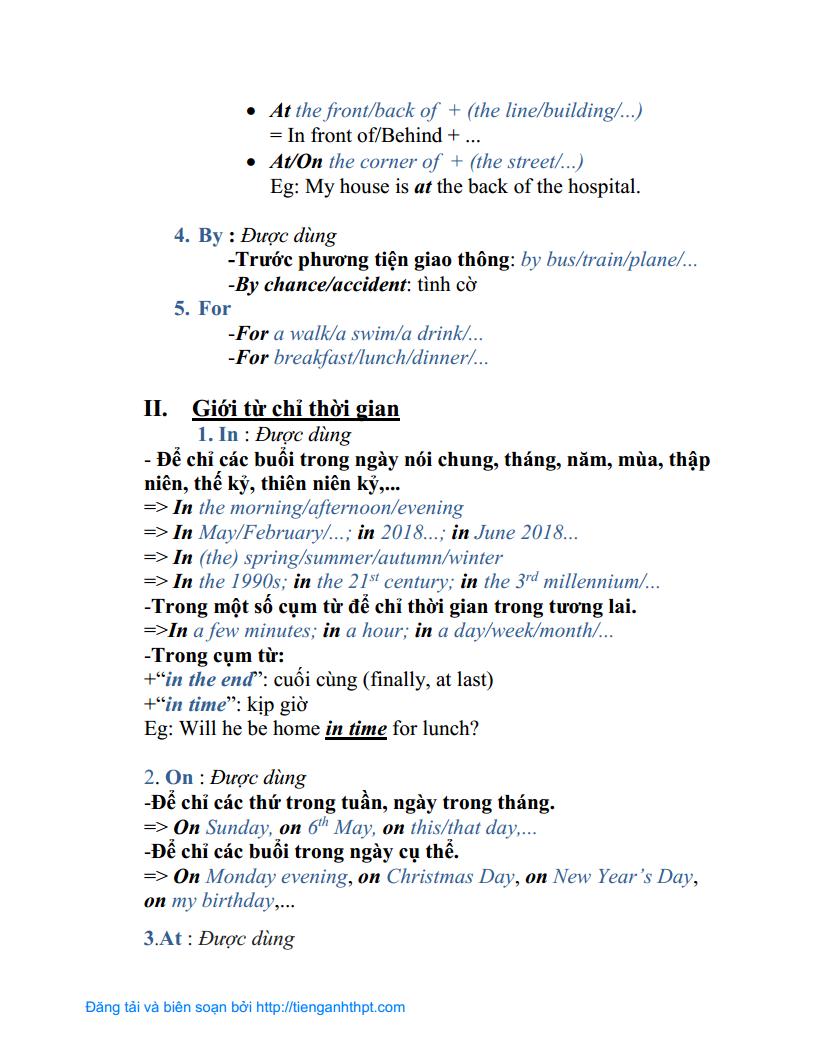 Chuyên đề 05 - Các giới từ thông dụng trong Tiếng Anh