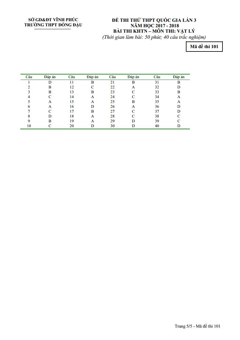 đề thi thử THPT Quốc Gia môn Lý THPT Đồng Đậu - Vĩnh Phúc lần 3 - 2018