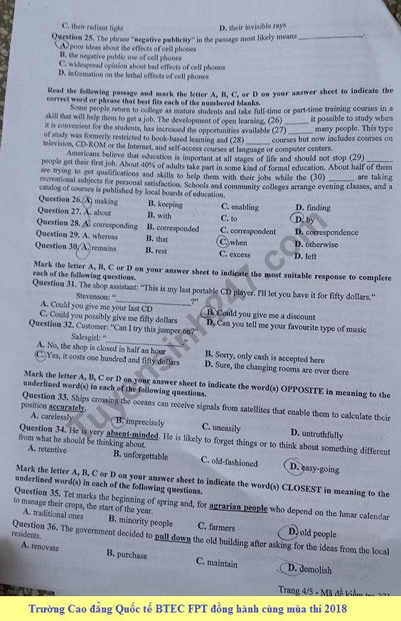 Đáp án đề thi thử môn Anh THPT Quốc Gia 2018 Sở GD&ĐT Hà Nội