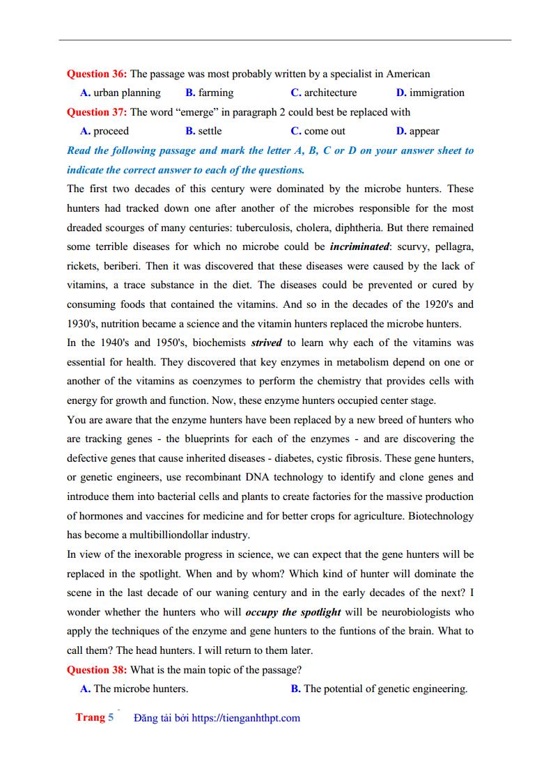Giải chi tiết đề thi thử môn Anh THPT chuyên Lê Quý Đôn Điện Biên lần 2 - 2018