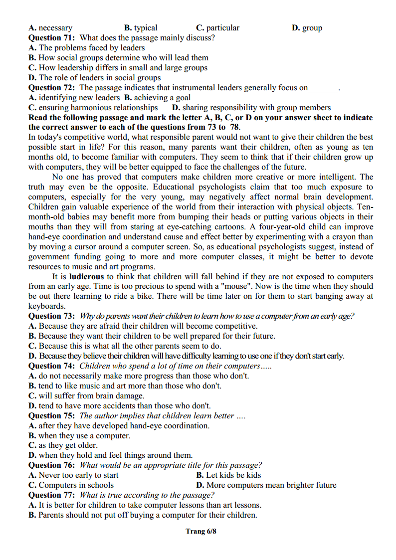 Đề thi khảo sát định hướng môn Anh THPT Gia Lộc - Hải Dương lần 2 - 2019