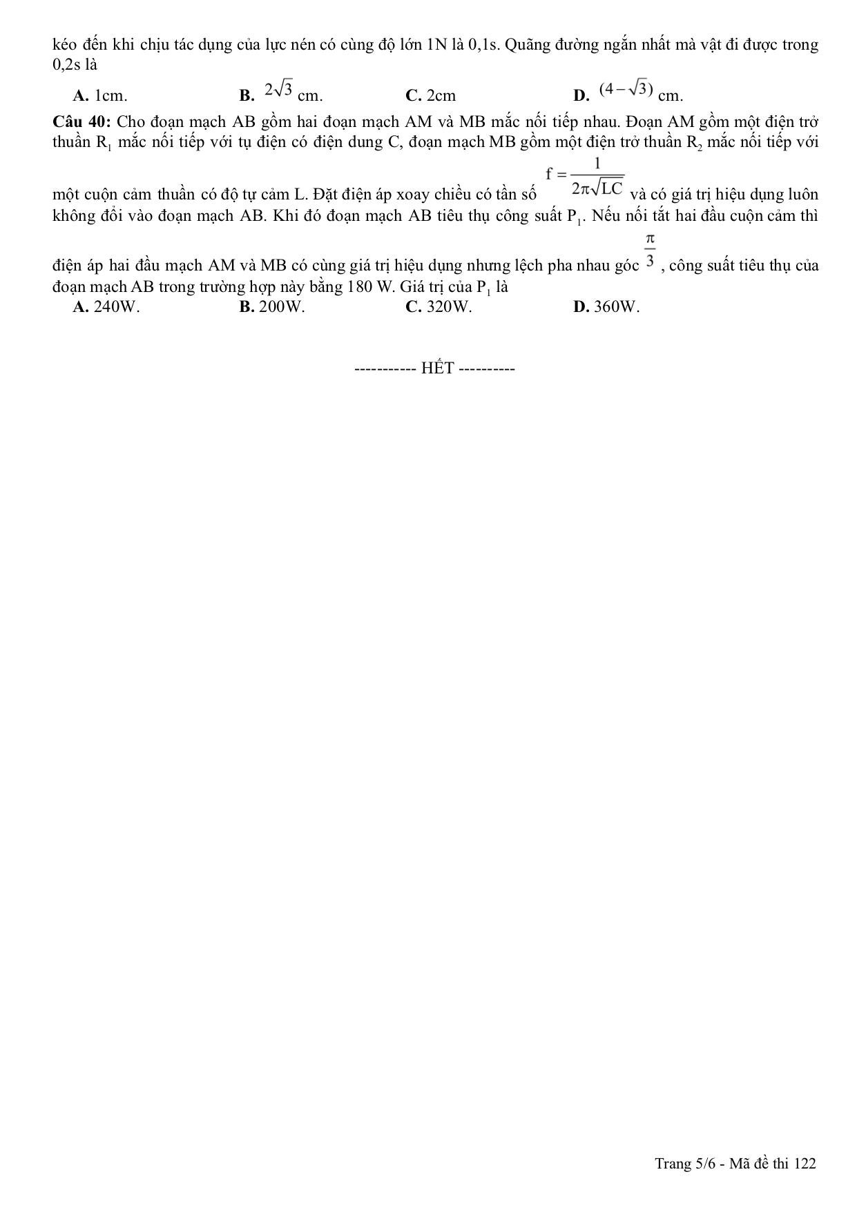 Đề thi thử môn Lý 2019 có đáp án trường THPT Ngô Quyền - Hải Phòng lần 1