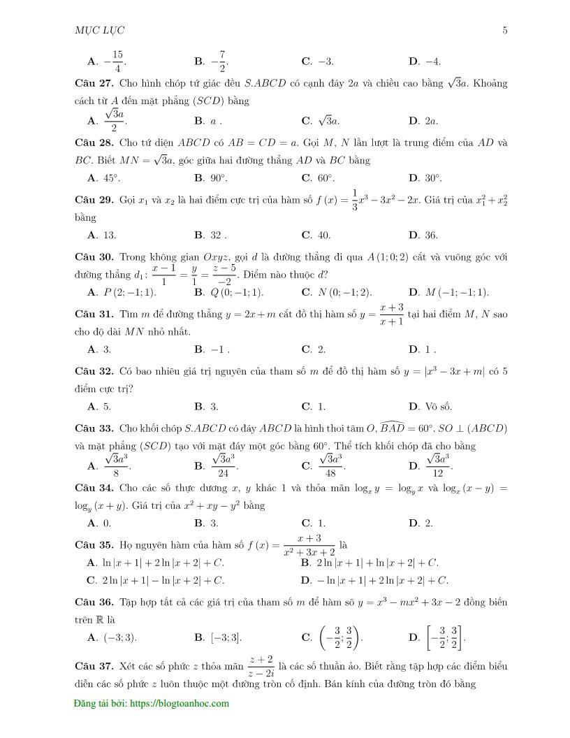 Đề thi thử môn Toán trường THPT Chuyên KHTN - Hà Nội lần 1 - 2019 - có đáp án