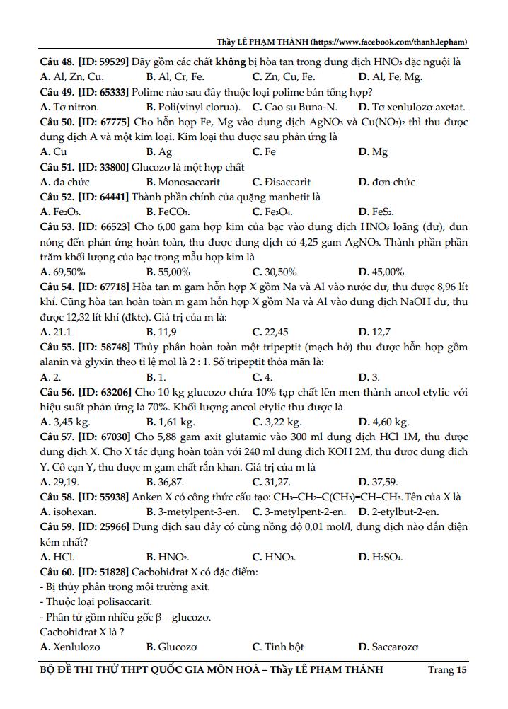 GIẢI CHI TIẾT Đề thi thử môn Hóa - Thầy Lê Phạm Thành - Đề số 2