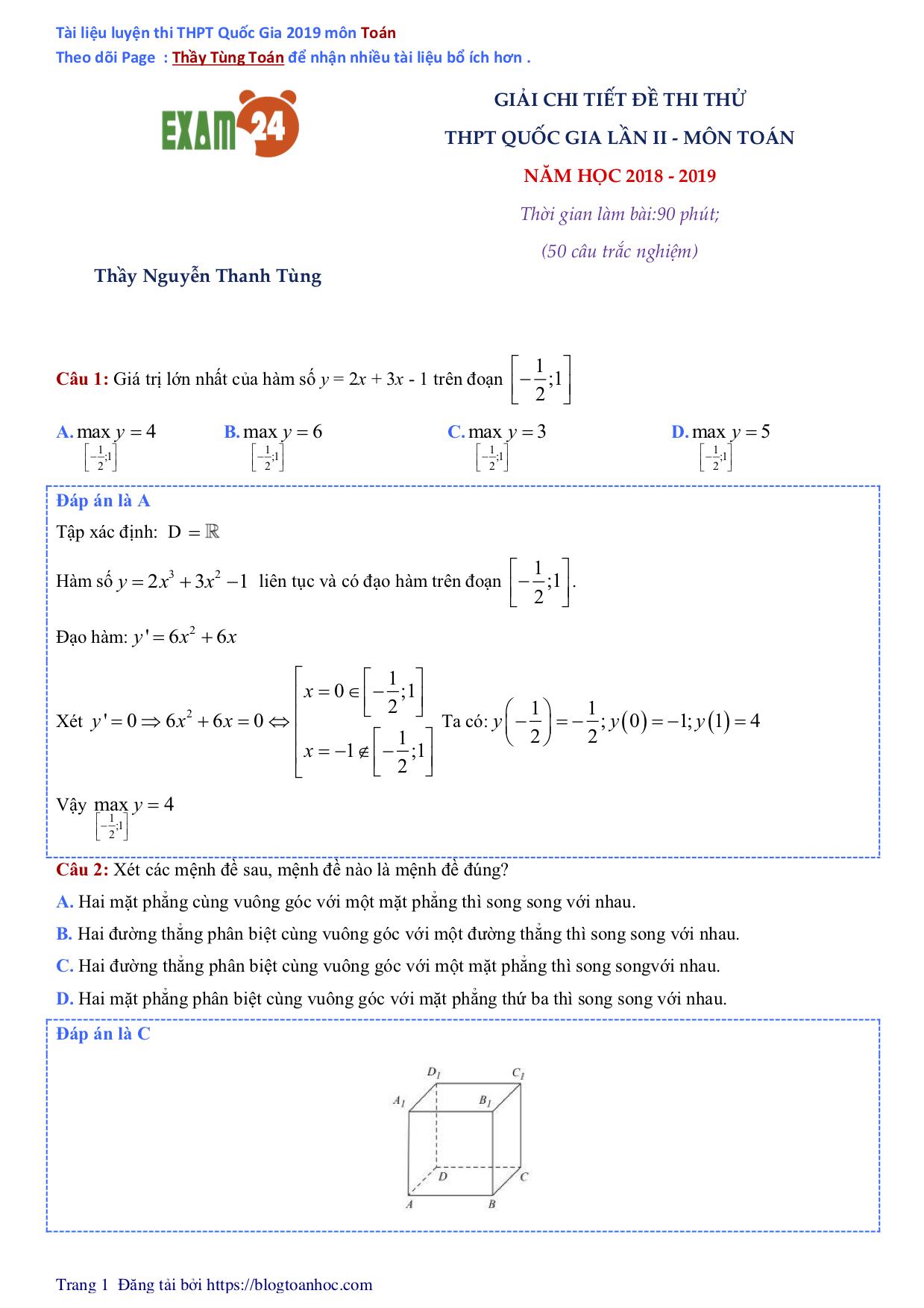 GIẢI CHI TIẾT Đề thi thử 2019 môn Toán - Thầy Nguyễn Thanh Tùng - Đề Pen số 2