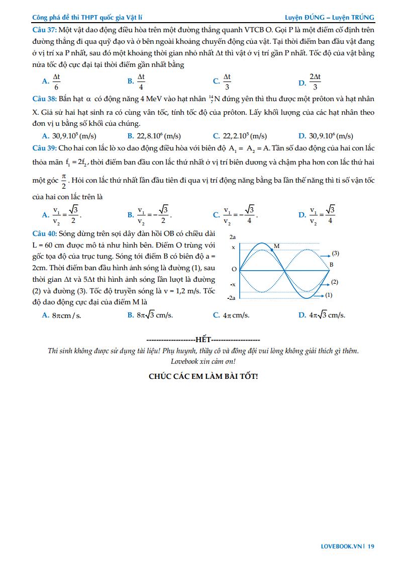 GIẢI CHI TIẾT Đề thi thử môn Lý 2019 – Công phá đề thi Lý quốc gia – Đề số 01