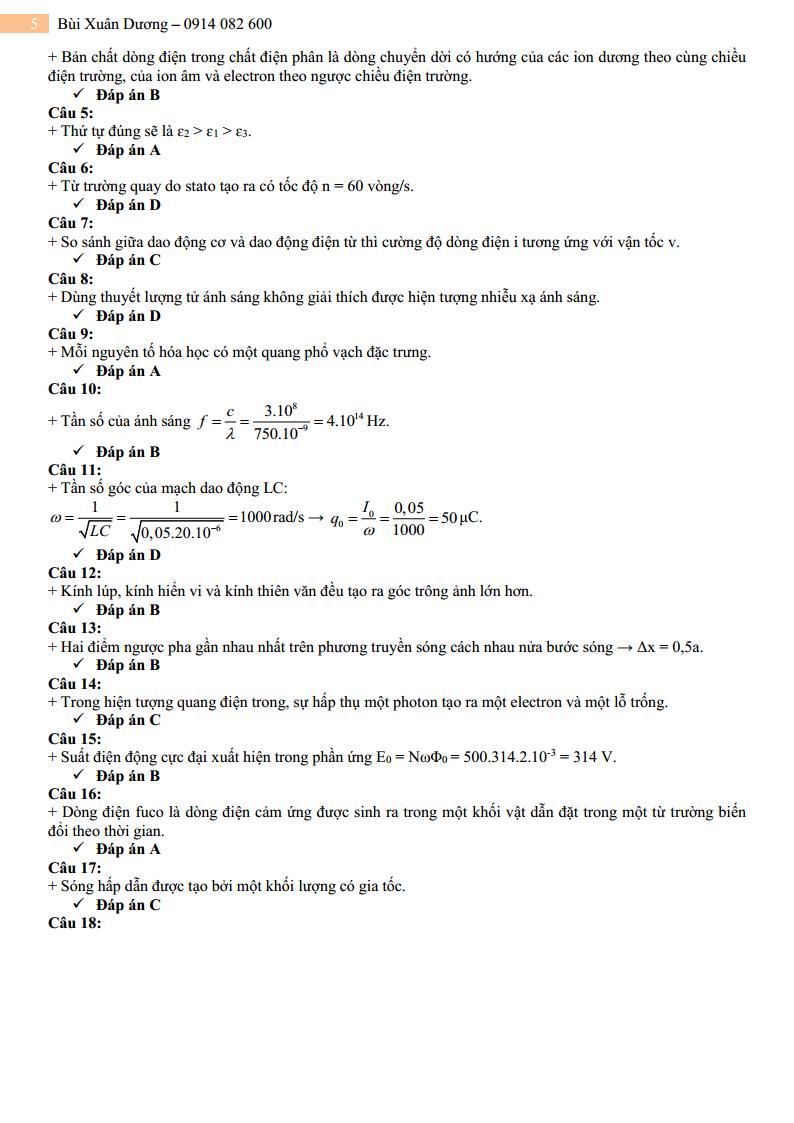 GIẢI CHI TIẾT Đề thi thử môn Lý lần 4 – 2019 – Group Bức phá điểm thi môn Vật Lý
