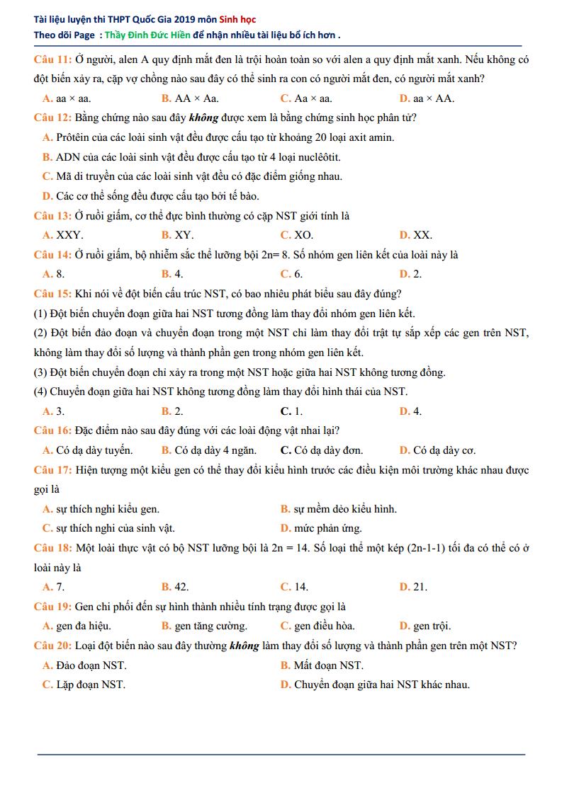 GIẢI CHI TIẾT Đề thi thử môn Sinh 2019 - Thầy Đinh Đức Hiền - lần 8