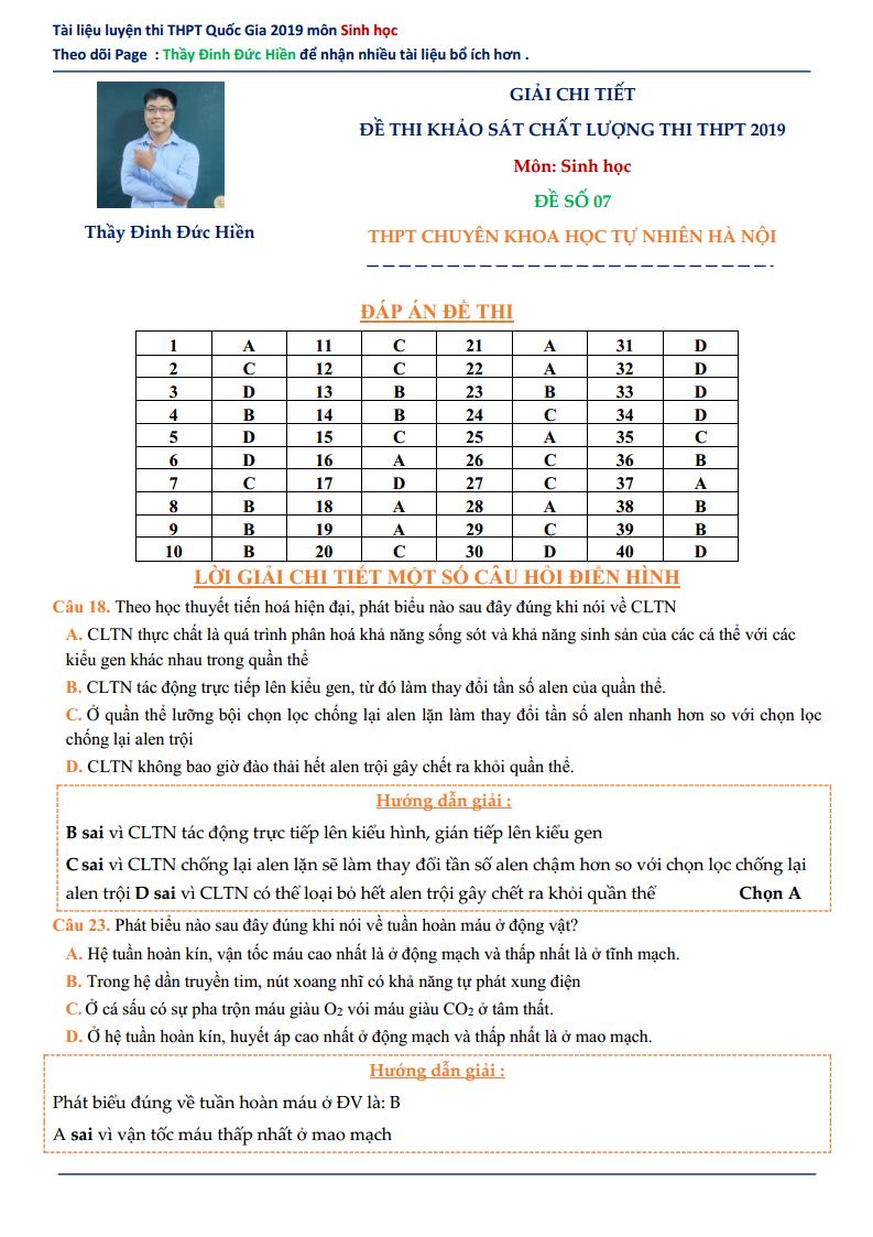 GIẢI CHI TIẾT Đề thi thử môn Sinh 2019 - thầy Đinh Đức Hiền - Đề số 07