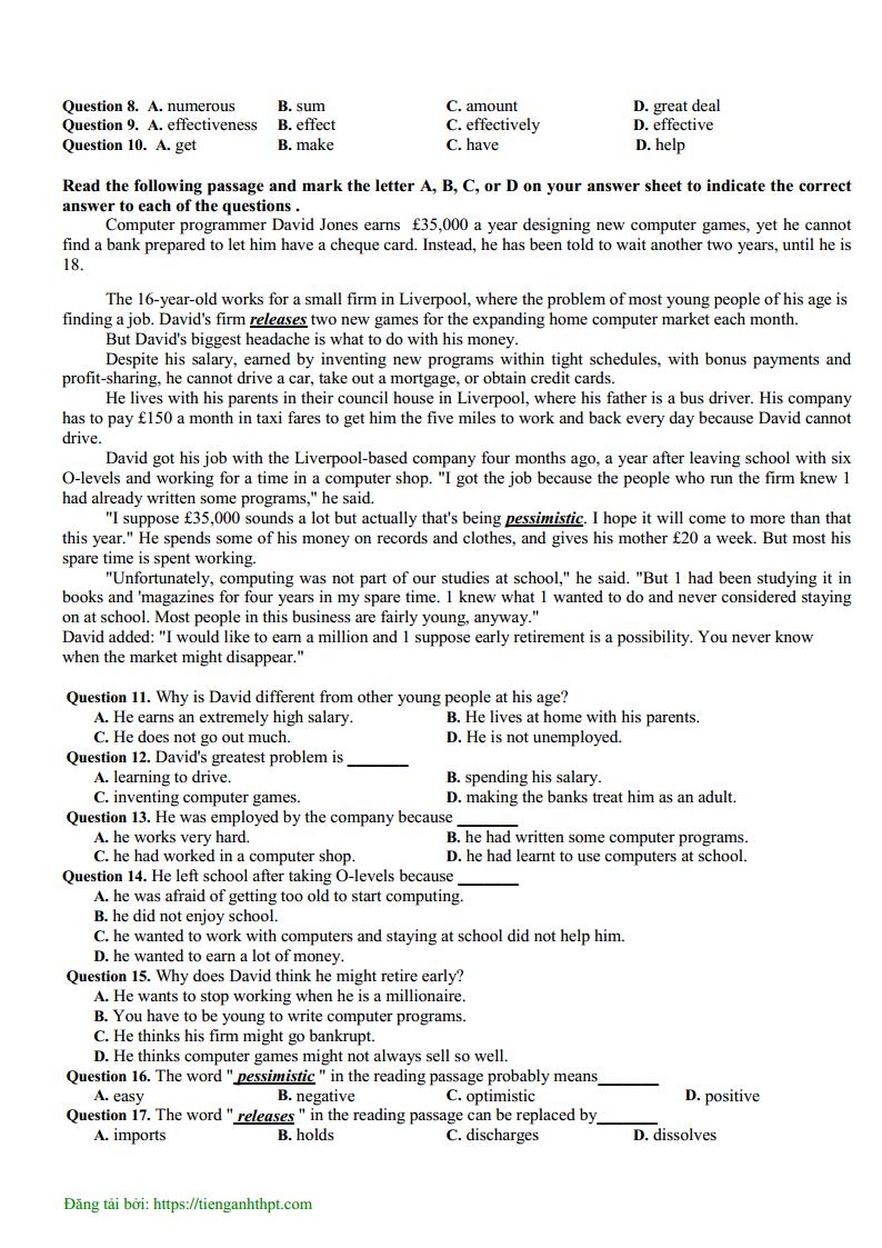 Đề thi thử môn Anh có đáp án trường THPT Đào Duy Từ - Thanh Hóa lần 1 - 2019