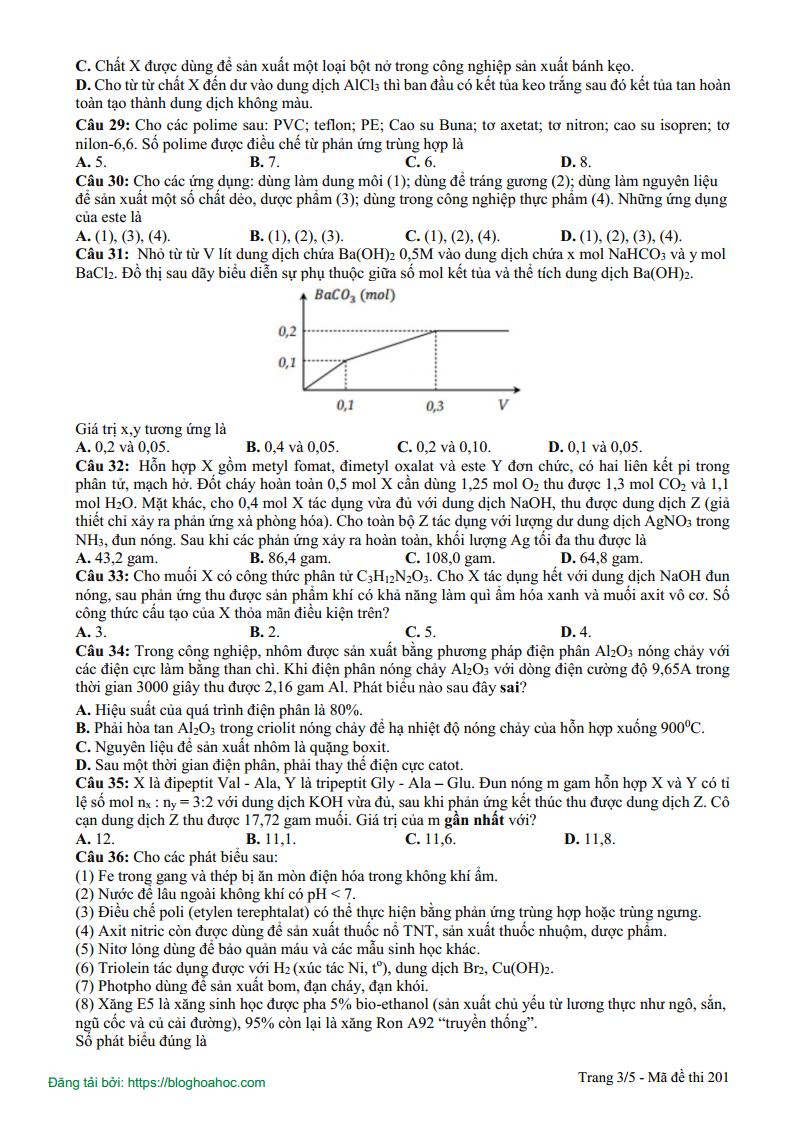 Đề thi thử môn Hóa THPT  Chuyên Lam Sơn Lần 2 - 2019 Có đáp án