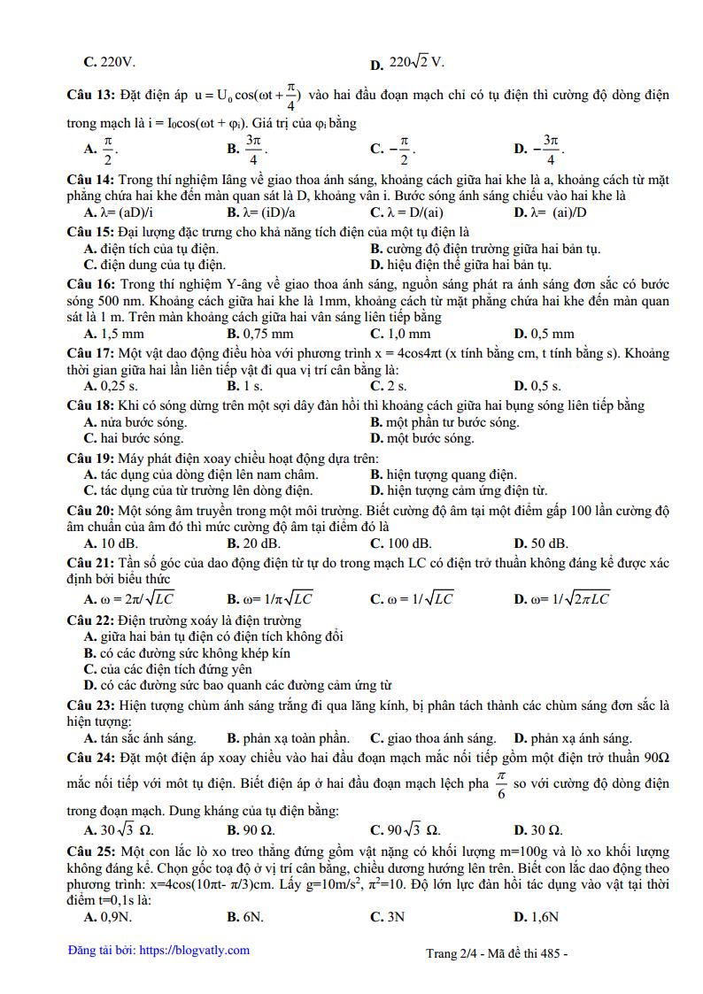 Đề thi thử môn Lý 2019 có đáp án THPT Đoàn Thượng - Hải Dương lần 1
