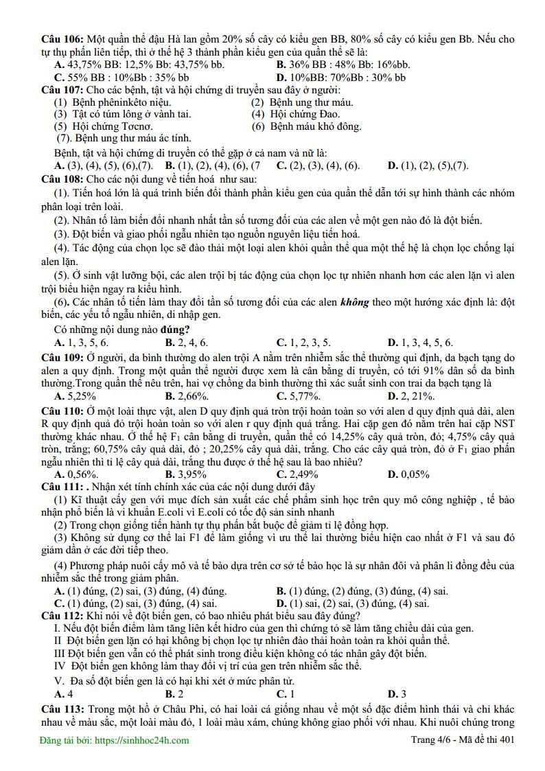Đề thi thử môn Sinh có đáp án trường THPT Yên Lạc - Vĩnh Phúc lần 3 - 2019