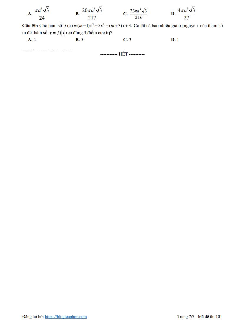 Là Blog Toán Học đến từ Exam24h đây các em! Ngày hôm nay nhóm sẽ giới thiệu tới các em Đề thi thử môn Toán lần 3 - 2019 của trường THPT Lý Nhân Tông - Bắc Ninh lần 3 - 2019. Hi vọng đề thi này là tài liệu tham khảo hữu ích dành cho các em học sinh đang ôn thi kỳ thi THPT Quốc Gia năm 2019.