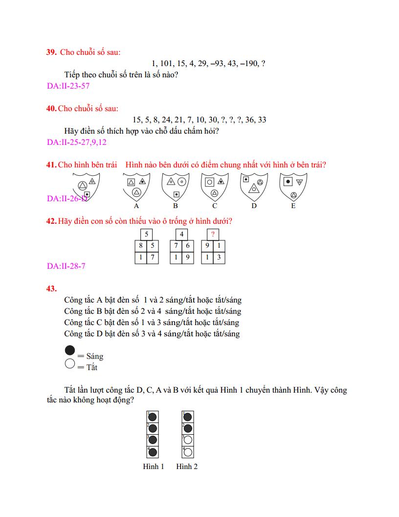 Test IQ Tuyển dụng - Test IQ Viettel - 2019 - Có đáp án