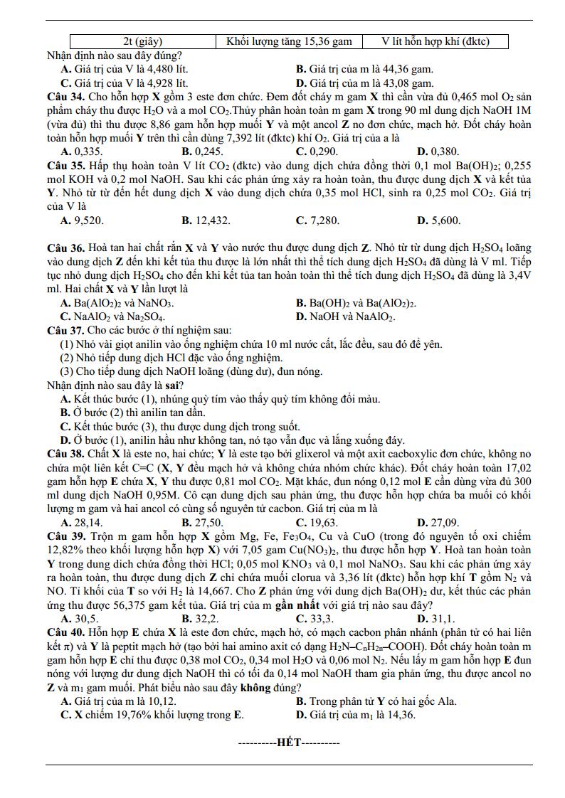 Đề thi thử môn Hoá 2019 có đáp án - Đề sưu tầm số 17