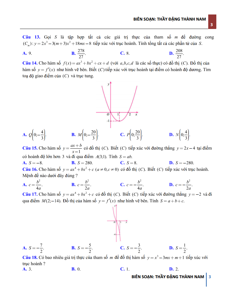 Bài toán sự tiếp xúc 2 đồ thị Hàm số - Có đáp án